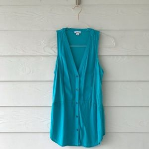 Splendid Tops - Splendid Teal Blue Button Up Tank